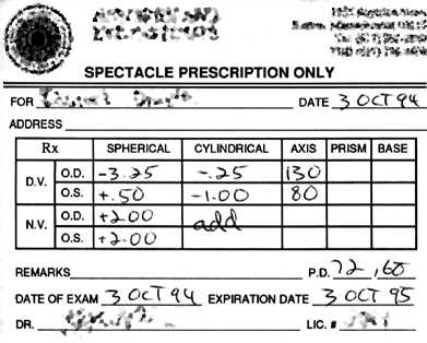 Glasses Prescription Example