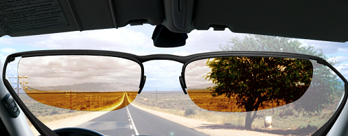 Drivewear Transitions Sunglasses - Bright Light Behind Windscreen Example